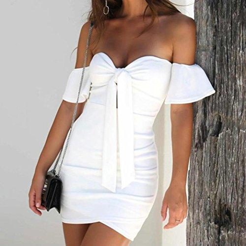 Party Women Short Sleeve Mini Bowknot Shoulder Dress Off White Bandage nrPxnp