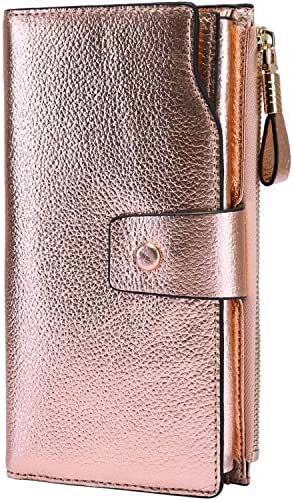 Itslife Women's RFID Blocking Large Capacity Luxury Wax Genuine Leather Clutch Wallet Card Holder Organizer Ladies Purse