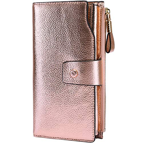 Itslife Women's RFID Blocking Large Capacity Luxury Wax Genuine Leather Clutch Wallet Card Holder Organizer Ladies Purse (3-Pebbled Champagne Gold) ()