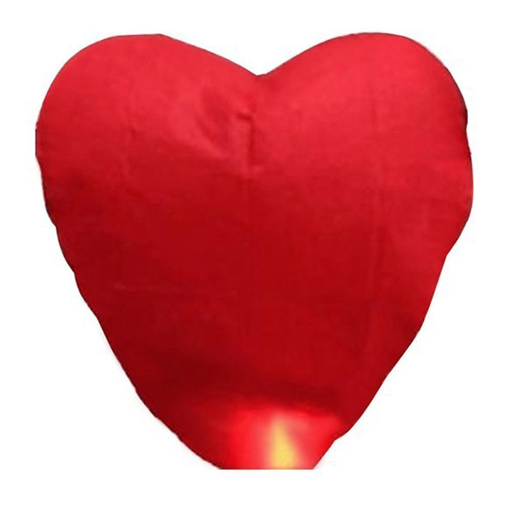 Alrens_DIY(TM) Red Love Heart Shaped Large Chinese Sky Fly Fire Paper Lanterns Wish Balloon Wishing Lamp for Wedding Birthday Christmas Party (10, Heart Shaped)
