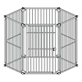 ALEKO DK6P60 6 Panel Heavy Duty Modular Dog Playpen with Door Large Sized 28.5 x 42 Inches For Sale