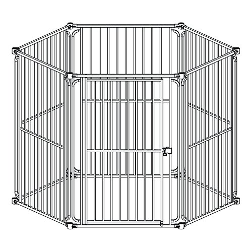ALEKO DK6P60 6 Panel Heavy Duty Modular Dog Playpen with Door Large Sized 28.5 x 42 Inches -