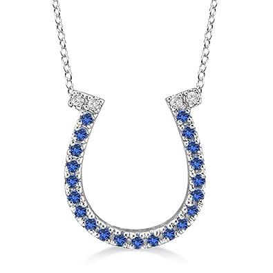 Amazon sapphire and diamond horseshoe pendant necklace 14k sapphire and diamond horseshoe pendant necklace 14k white gold 025ct aloadofball Choice Image