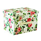 RayLineDo Pack of 2 26L Simulated Lining Durable Fabric Foldable Storage Box Bag Clothes Blanket Closet Sweater Organizer Canvas with Elegant Flowers in Red