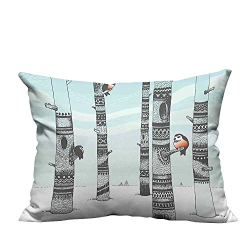 YouXianHome Super Soft Pillowcase in Carving Woods Snowy Weather Leafless Trees and Cute Birds Light Blue Black Resists Wrinkles(Double-Sided Printing) 19.5x54 inch