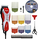 Wahl Professional Animal Deluxe U-Clip Pet, Dog, & Cat Clipper & Grooming Kit (#9484-300), Red and Chrome