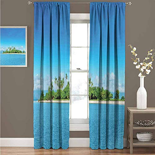 Island Insulating Room Darkening Blackout Drapes Uninhabited Island at Philippines Beach Palm Trees Forest Tropical Vacation Picture Blackout Drapes for Bedroom W120 x L85 Inch Blue Green