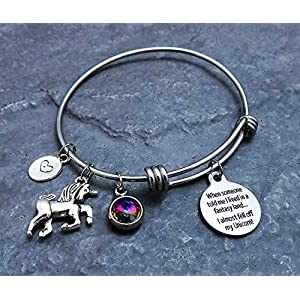 Magical Unicorn Charm Bracelet with Rainbow Colored Pendant Stainless Steel Expandable Bangle