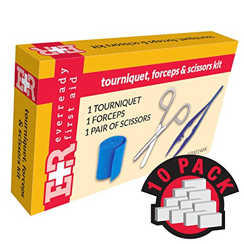 Ever Ready First Aid Tourniquet, Forceps & Scissors Kit, in Kit Unit Box, 10 Count