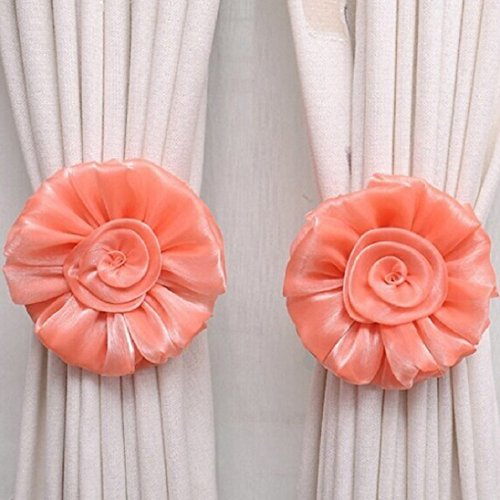 Polytree 1 Pair Organza Rose Flower Ribbon Curtain Holderback Tieback for Homw Décor - Orange
