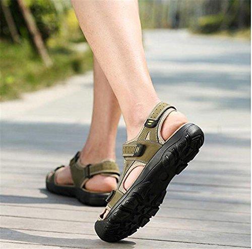 Taille Marcher Trekking Velcro Bretelles EU38 Printemps Fermé GREEN Tongs à orteil Été En Cuir xie Chaussures Véritable En Plein 38 Hommes Sandales 46 Air Voyage Robuste cWH4OqHRw