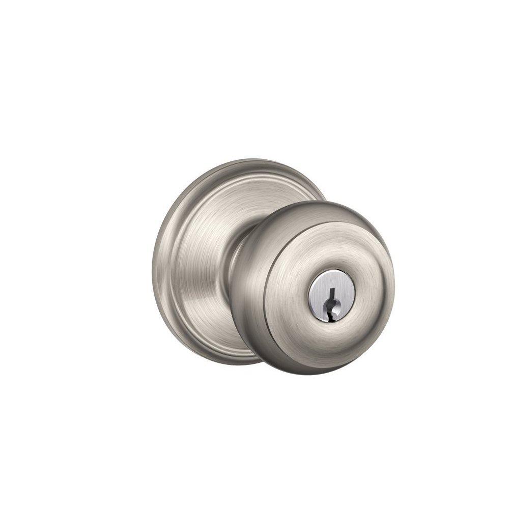 Schlage F51GEO619 Georgian Keyed Entry Knob, Satin Nickel   Schlage Door  Lock   Amazon.com