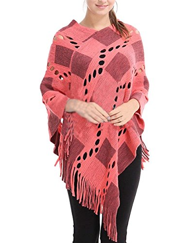 Reticolo Eleganti Scialle Autunno Outerwear Giaccone Mode Donna Irregular Asimmetrica Hollow Tassels Cappotto Di Bolawoo Primaverile Pink Marca Capa Vintage 0O8XknwP
