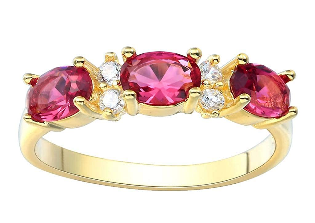 Jixin4you Elegant Gold Plated Red Crystal Rings Dating Meeting
