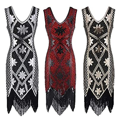 Todaies Women Vintage 1920s Bead Fringe Sequin Embellished Party Flapper Gatsby Dress