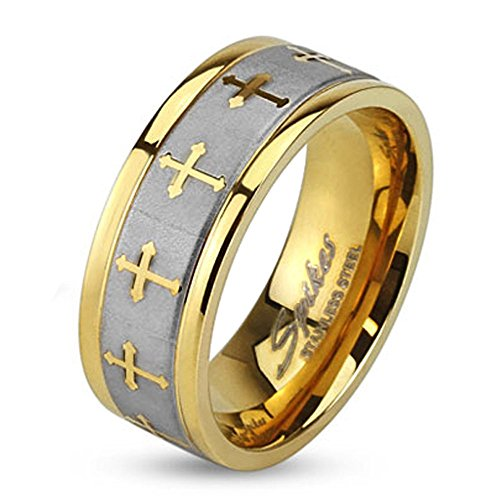 Forever Flawless Jewelry 8mm Gold Plated Stainless Steel High Polish Finish Celtic Cross with Brushed Center Two Tone Band - Size 11