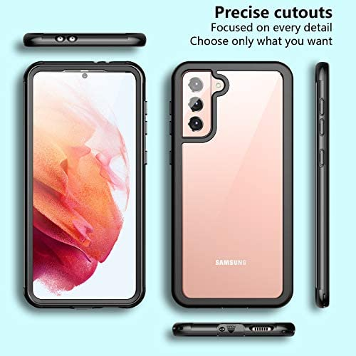 Temdan for Samsung Galaxy S21 Case,Built-in Screen Protector Clear Case Shockproof Rugged Anti Scratch Cover for Samsung Galaxy S21 6.2 inch 2021-Black/Clear
