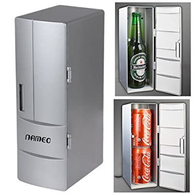 NAMEO Mini USB Fridge, Plug & Play Beverage Drink Cans Cooler Warmer Refrigerator with 2 Switch Modes