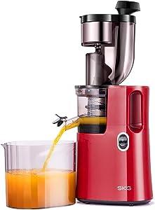SKG Slow Masticating Juicer Wide Chute Cold Press Juicer Machine BPA Free (200W AC Motor, 45 RPM), Red