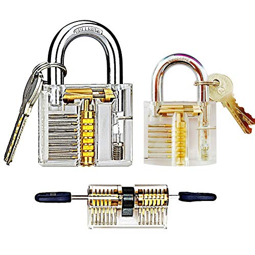 3 Pcs Transparent locks locksmith practice lock,Training Lock Tools for Locksmith