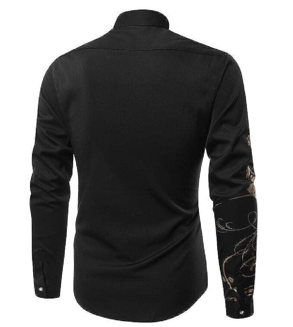 Fubotevic Mens Long Sleeve Big /& Tall Slim Fit Casual Print Button Down Shirt