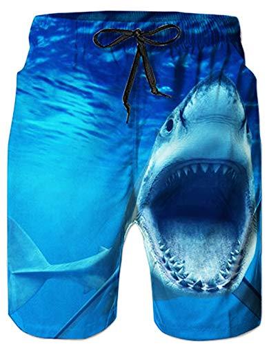 UNICOMIDEA Men's Hawaiian Beach Shorts 3D Printed Swim Trunks Quick Dry Surf Bathing Suit