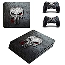 Adventure Games - PS4 PRO - Punisher, Grey Skull - Playstation 4 Vinyl Console Skin Decal Sticker + 2 Controller Skins Set