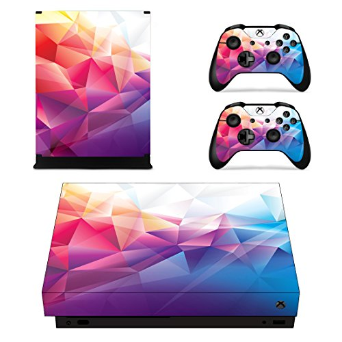 eSeeking Whole Body Vinyl STICKER Decal Cover for Microsoft Xbox One X Console and 2PCS Controllers Triangle Composition