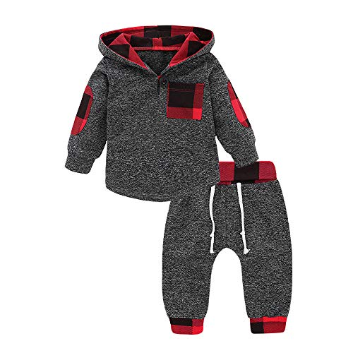 Birthday Sweatshirt Kids (Infant Toddler Boys Girls Sweatshirt Set Winter Fall Clothes Outfit 0-3 Years Old,Baby Plaid Hooded Tops Pants (6-12 Months, Gray))