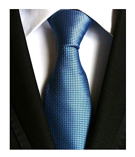 Men's Blue Pattern Ties Formal Solid Color Grooms Christmas Soft Dances Neckties ()