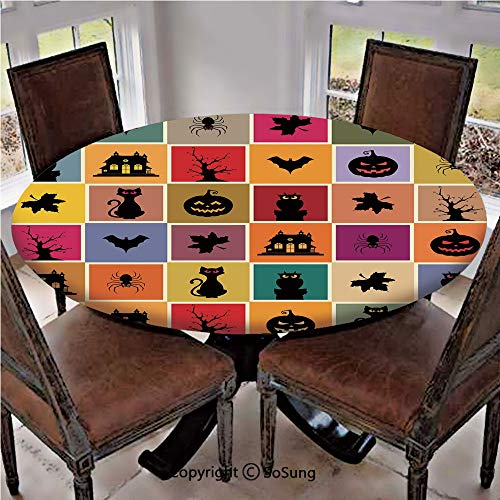 Elastic Edged Polyester Fitted Table Cover,Bats Cats Owls Haunted Houses in Squraes Halloween Themed Darwing Art Decorative,Fits up 40