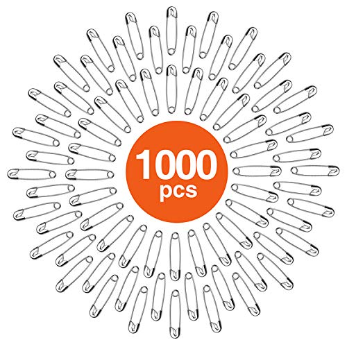 HOUSE DAY Safety Pins Bulk Pack of 1000, 1.1 Inch Long, Strong & Sharp Premium Metal Pins, Durable for Home, Office, Clothes Consignment, Competitions, Crafts