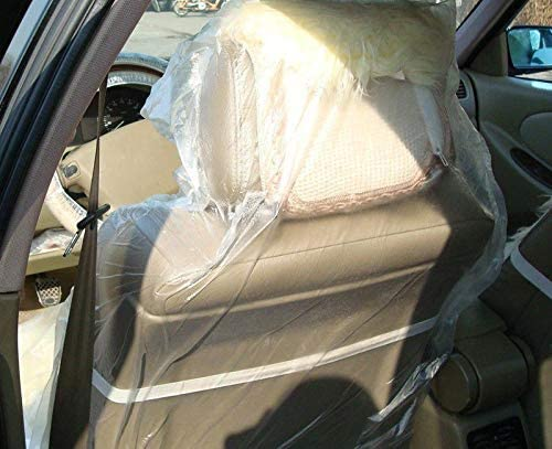 100pcs NEW Disposable Clear Plastic Car Seat Covers Protector Mechanic Valet Free 3.2 pounds