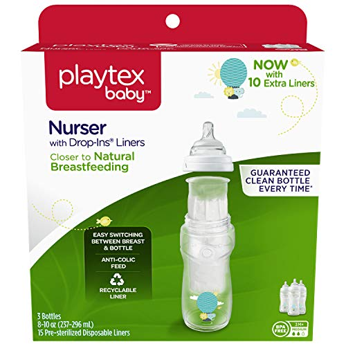Playtex Baby Nurser Bottle with Disposable Drop-Ins Liners, for Breastfed Babies, 8 Ounce Decorated Bottles, 3 Count