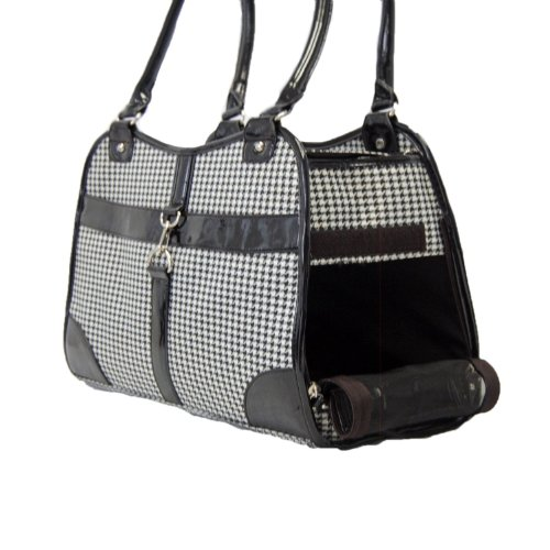 Houndstooth Print Tote Pet Dog Cat Carrier/Tote Purse Travel Airline Bag -Black-Medium by mpet -