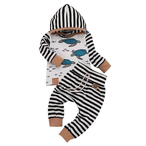 Newborn Infant Baby Girls Boys Hoodie Set Leaves Striped Jacket Pants Set Kids Fall Clothes (2PCS Hoodie Set, 3-6 Months)