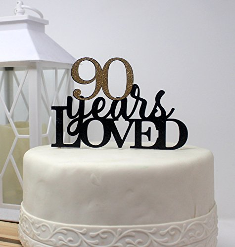 All About Details 90 Years Loved Cake Topper (Black & Gold) by All About Details (Image #3)