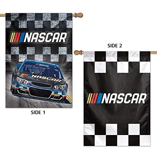 NASCAR 2 Sided Vertical Banner Flag Checkered Flag Race Car