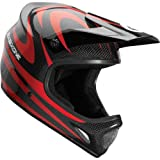 SixSixOne Evo Carbon Camber Men's Full Face All-Terrain Bicycle MTB Helmet w/ Free B&F Heart Sticker Bundle - Red / Large