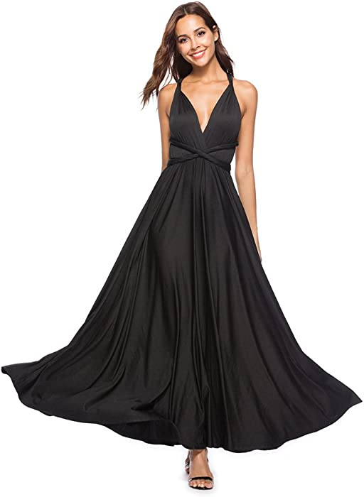 a808659371f Women s Long Sexy Backless Solid Color Lace up Sleeveless V Neck Evening  Party Tea Cocktail Maxi Dress