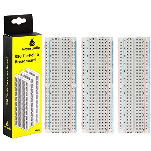 KEYESTUDIO 3PCS 830 tie-Points Solderless Breadboards Kit for Raspberry Pi and Arduino Electronics Prototyping Projects Proto Shield Distribution Connecting Blocks