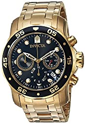 Invicta Men's 0072 Pro Diver Collection Chronograph 18k Gold-Plated Watch from Invicta