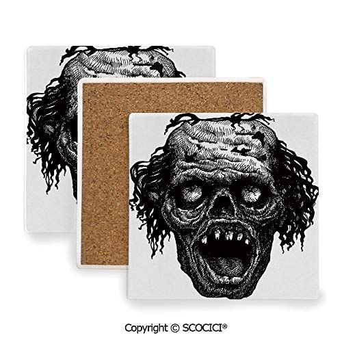 Ceramic Coaster With Cork Mat on the back side, Tabletop Protection for Any Table Type, Square coaster,Halloween,Zombie Evil Dead Man Portrait Fiction Creature,3.9