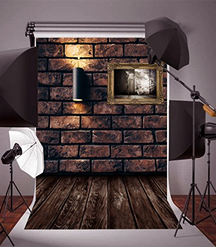 Leyiyi 3X5ft Photography Backdrop Happy Halloween Backdrop Vintage Grunge Castle Rough Brick Wall Wood Floor Countryside Barn Dirty Prison Collapsible Photo Portrait Vinyl Studio Video Props -