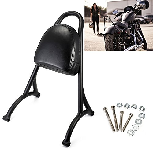 - Short Sissy Bar Backrest Back Rest Pad For Harley Sportster Iron 883 Nightster 1200 XL 48 72 2004-2016 Weld (Black)