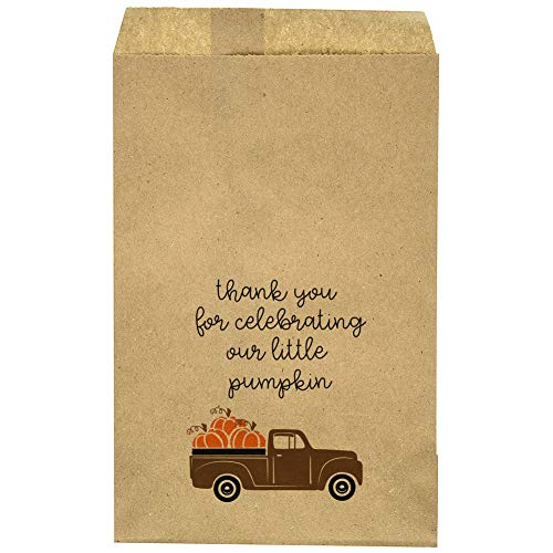 "Baby Shower - Birthday Party - Favor Bag - Fall - Truck - Little Pumpkin - Candy Bar – Treat Table – Candy Buffet - Goody Bag - Thank You - 9.25"" x 6.25"" Brown Kraft Bags – (20 Pack) for $<!--$11.00-->"