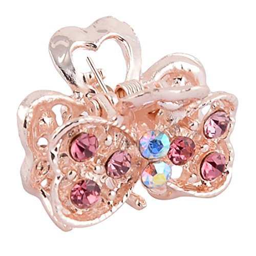 DealMux Metal Double Heart Shape Lady Faux Rhinestone Inlaid Hair Claw Jaw Clip Colorful