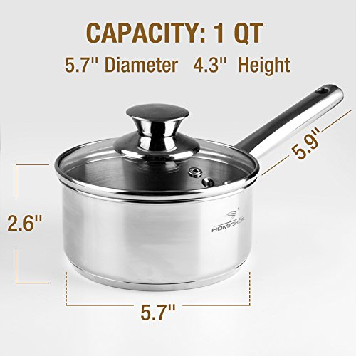 HOMI CHEF Mirror Polished NICKEL FREE Stainless Steel 1 QT(Quart) Sauce Pan with Lid (No Toxic Non Stick Coating, 5.5 Inch) - Mini Saucepan Cookware - Sauce Pot Handy Pot - Small Cooking Pot