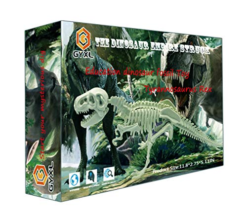 qiaoyun Dino Fossil Dig kit Toys,DIY Puzzle Dinosaurs Science Education Toys Assembly Kit.(T-rex) (Dinosaur Fossil Making Kit)