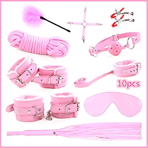 MUQU Environmental protection PU Leather 10 Pcs, Handcuffs,Eye patch ,Ankle,Bite Mouth,Whip,Necklace,Nipple paste, feather,rope,Cross belt (P) - Rope Set Cross
